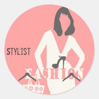 Styliste Girly rose de mode élégant Sticker Rond