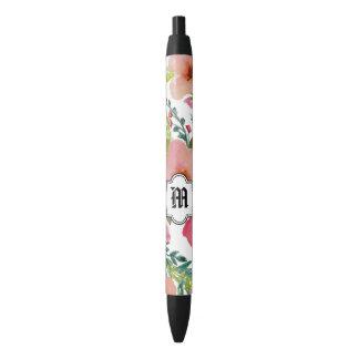 Stylo Noir Floral personnalisé élégant