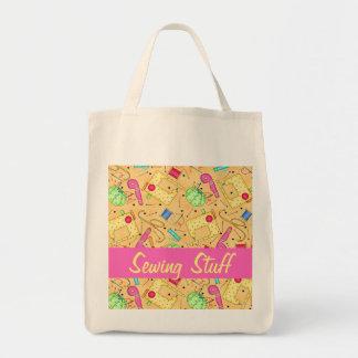 Substance de couture de couture jaune de coutume sac en toile épicerie