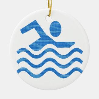 Succès de natation - esprit frais de périodes ornement rond en céramique
