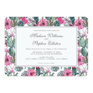 Succulent et floral de Bohème - mariage Carton D'invitation 12,7 Cm X 17,78 Cm