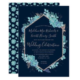 Succulents de marine et faire-part de mariage rose