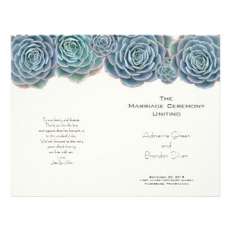 Succulents vert-bleu pliés épousant des programmes prospectus 21,6 cm x 24,94 cm