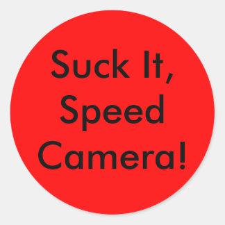 Sucez-le, appareil-photo de vitesse ! autocollants ronds