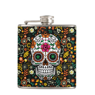 Sucre mignon coloré Skul et rétros fleurs Flasques