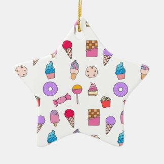 Sucrerie, bonbons et gâteau ornement étoile en céramique