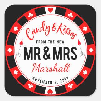Sucrerie et baisers pour nouveaux M. et Mme Las Sticker Carré