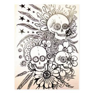 sucrez le jour de crâne de l'art mort de carte