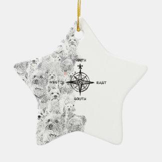 Sud-est du nord et chien de Westie Ornement Étoile En Céramique