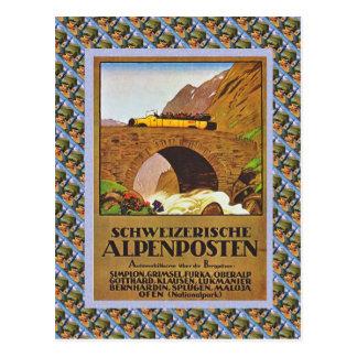 Suisse vintage Raulway Schweizerische Alpenposten Carte Postale