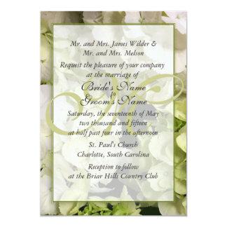 Suite verte blanche de mariage d'hortensia carton d'invitation  12,7 cm x 17,78 cm