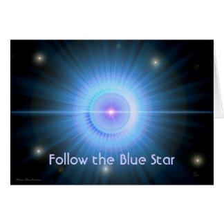 Suivez la MAISON d'étoile bleue Carte De Vœux