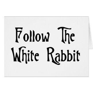 Suivez le lapin blanc carte de vœux