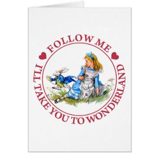 Suivez-moi, je vous portera au pays des merveilles carte de vœux