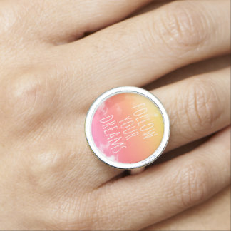 Suivez votre anneau inspiré de citation de coucher bagues avec photo