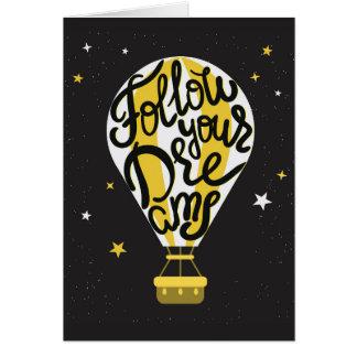 Suivez votre ballon de rêves carte de vœux