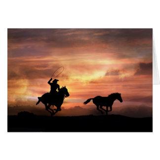 Suivez votre carte de cowboy d'encouragement de