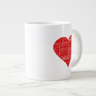 Suivez votre coeur rouge et blanc de coeur - d'amo mug jumbo