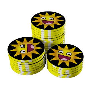 Sun avec le sourire ridiculement heureux rouleau de jetons de poker