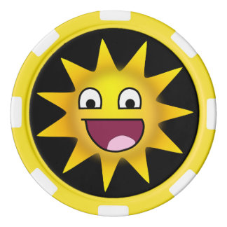 Sun avec le sourire ridiculement heureux jetons de poker