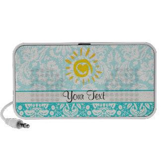 Sun mignon ; Damassé turquoise Haut-parleur iPod