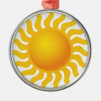 Sun Ornement Rond Argenté