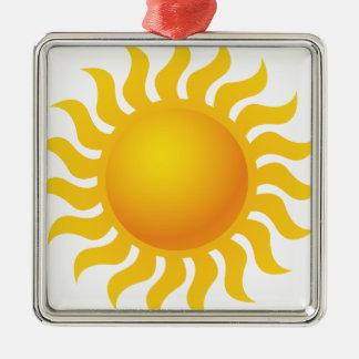 Sun Ornement Carré Argenté
