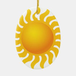 Sun Ornement Ovale En Céramique