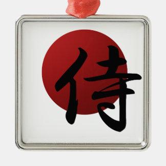 Sun samouraï ornement carré argenté
