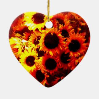 Sunflowers in a window! ornement cœur en céramique