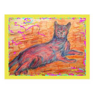sunny cobblestone cat siesta time cartes postales
