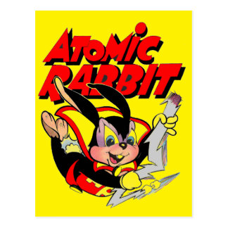 Super héros animal velu drôle de lapin atomique cartes postales