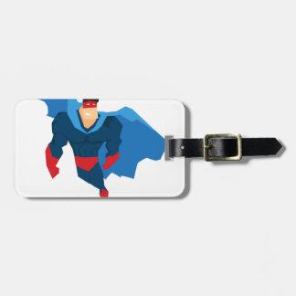 Super héros dans l'action étiquette à bagage