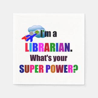 Super héros de bibliothécaire - conception colorée serviette jetable