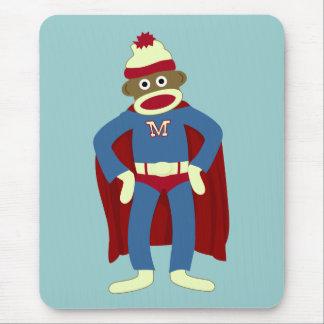Super héros de singe de chaussette tapis de souris