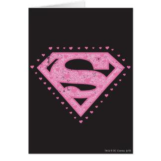 Supergirl a affligé le noir et le rose de logo carte de vœux