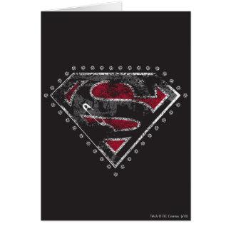 Supergirl a affligé le noir et le rouge de logo carte de vœux