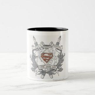 Superman a stylisé le logo doux de journaliste de tasse 2 couleurs