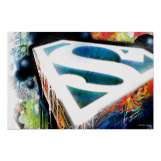 Superman a stylisé le logo urbain de graffiti de | posters