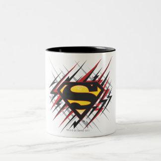 Superman a stylisé | logo noires et de rouge de tasse 2 couleurs