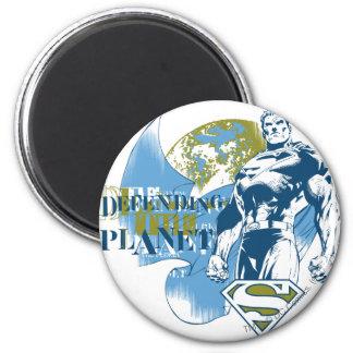 Superman | défendant la planète magnet rond 8 cm