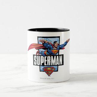 Superman et logo encadrés tasse 2 couleurs