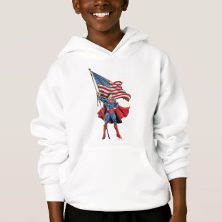 Superman tenant le drapeau des USA
