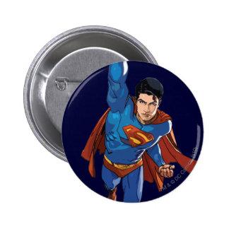 Superman volant en avant badge rond 5 cm