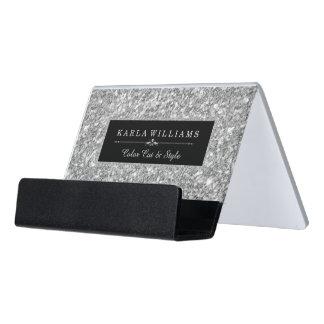 Support Carte De Visite Accent de noir de texture de scintillement de gris