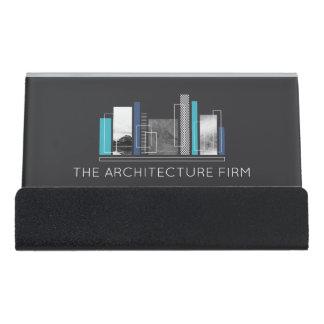 Support Carte De Visite Bleu géométrique et gris d'architecte