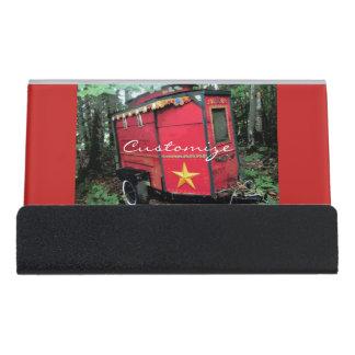 Support Carte De Visite Caravane minuscule gitane rouge customisée