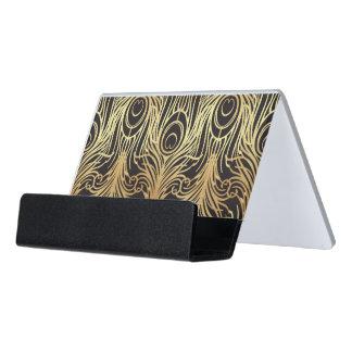 Support Carte De Visite l'or, noir, motif de paon, nouveau d'art, cru,