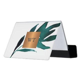 Support Carte De Visite Monogramme métallique de carré d'en cuivre de