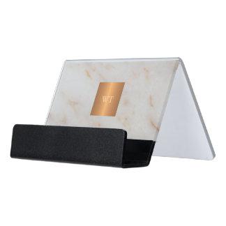 Support Carte De Visite Monogramme métallique de marbre moderne gris de